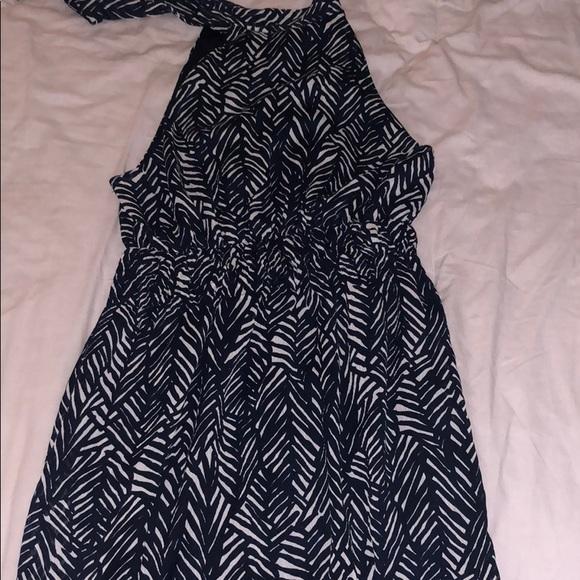 Merona Dresses & Skirts - Adorable Blue and cream Chiffon Halter Dress